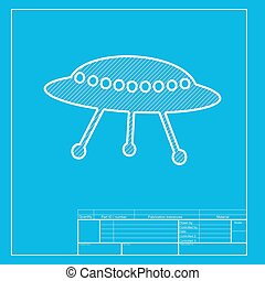 UFO simple sign. White section of icon on blueprint template.