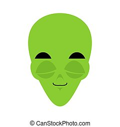 UFO sleeping Emoji. Green alien face asleep emotion. martian avatar