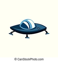 Ufo spaceship cartoon vector Illustration on a white background
