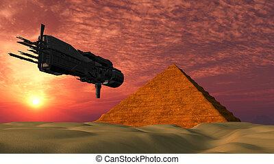 UFO Spaceship Flying towards a Pyramid - Fantasy Alien...