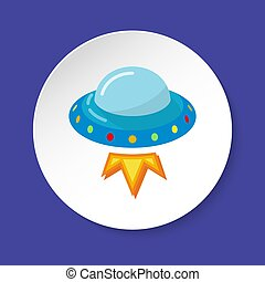 Ufo spaceship icon in flat style on round button