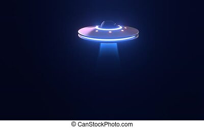 UFO spaceship with Abduction ray on black background - Loop video animation with Copy Space in Ultra HD 4K 16:9 format