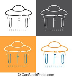 ufo spaceship with fork and spoon , concept restaurant vector design template