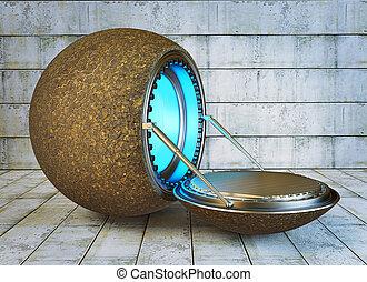 UFO - futuristic steel spaceship near a concrete wall.