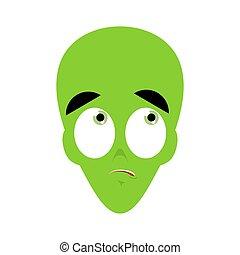 UFO Surprised Emoji. Green alien face astonished emotion. martian avatar