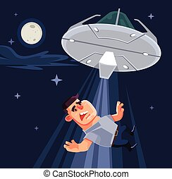 UFO tries to abduct man characters. Vector flat cartoon illustration