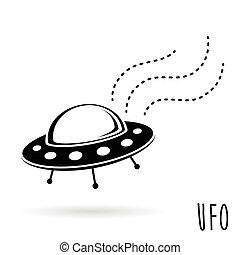 ufo, (unidentified, 飛行, object)., 空飛ぶ円盤, ベクトル, イラスト