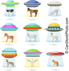 Ufo vector alien spaceship or spacecraft and spacy ship with animal character cat or pig illustration set of spaced sbeam of mystery transport in universe space isolated on white background