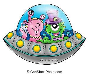 UFO wedding couple - color illustration.