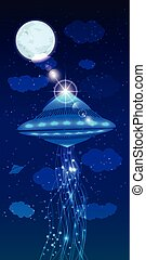 UFOs and the beam of light. illustration
