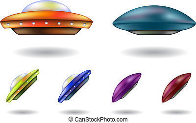 ufos - colourful unidentified flying objects vector cartoons...