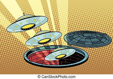 UFOs fly out of the sewers