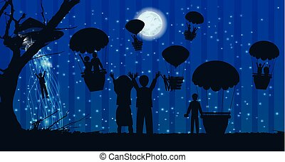 UFOs kidnapping people silhouette travel landscape