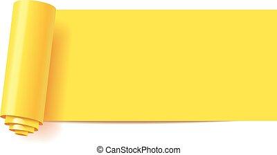 ufryzować, od, żółty, papier