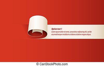 ufryzować, papier, czerwony