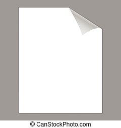 ufryzować, papier, strona, czysty