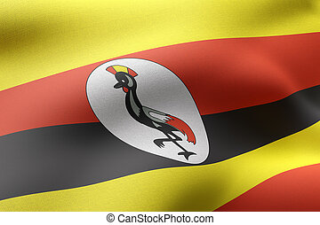 Uganda 3d flag