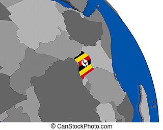 Uganda and its flag on globe
