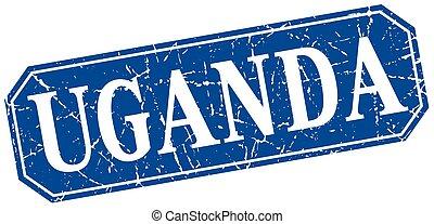 Uganda blue square grunge retro style sign