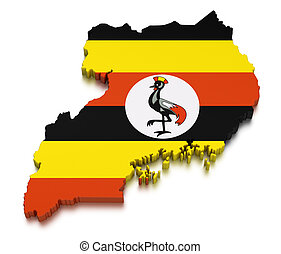 Uganda (clipping path included) - Map of Uganda. 3d render...