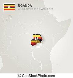 Uganda drawn on gray map