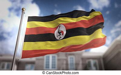 Uganda Flag 3D Rendering on Blue Sky Building Background