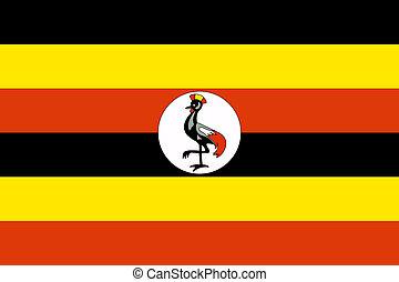 Uganda Flag - Sovereign state flag of country of Uganda in...