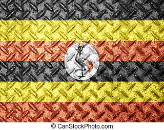 Uganda flag on grunge wall