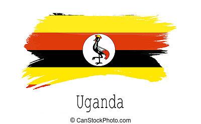 Uganda flag on white background
