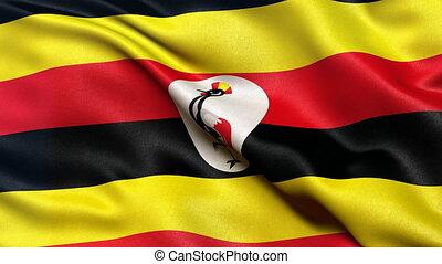 Seamless loop of Uganda flag waving in the wind. Realistic loop with highly detailed fabric.
