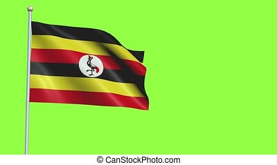 Uganda Flag in 3D render with green screen background in Slow Motion