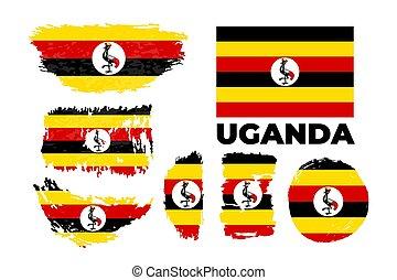Uganda flag, vector illustration on a white background.