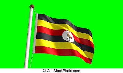 Uganda flag video (seamless & green screen)