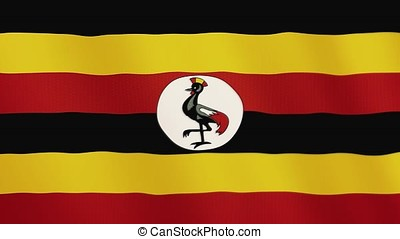Uganda flag waving animation. Full Screen. Symbol of the country.