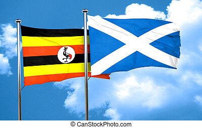 Uganda flag with Scotland flag, 3D rendering