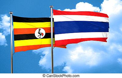 Uganda flag with Thailand flag, 3D rendering