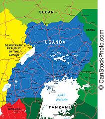 uganda, landkarte