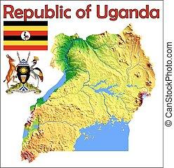 Uganda map Administrative division of the republic of vectors