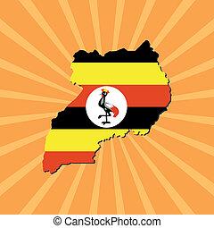 Uganda map flag on sunburst