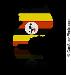 Uganda map flag with reflection