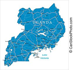 Uganda map - Highly detailed vector map of Uganda with...