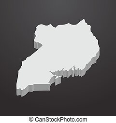 Uganda map in gray on a black background 3d