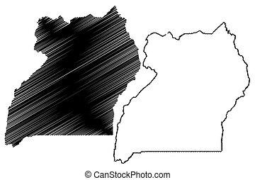 Uganda map vector