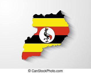Uganda map with shadow effect