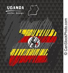 Uganda national vector map with sketch chalk flag. Sketch chalk hand drawn illustration