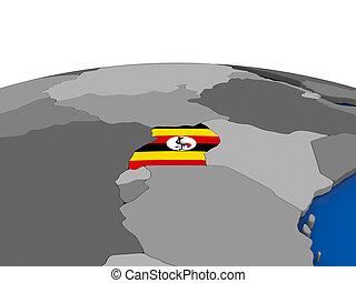 Uganda on 3D globe