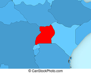 Uganda on 3D map