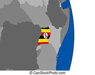 Uganda on globe with flag