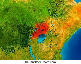 Uganda on physical map