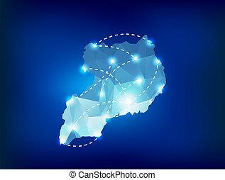 uganda, país, mapa, polygonal, con, luces del punto, lugares